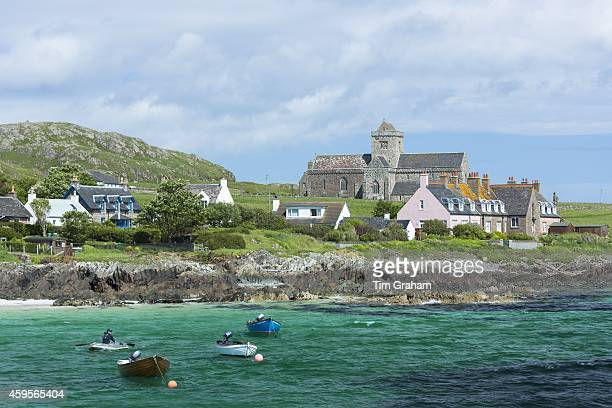 The ancient Iona Abbey and St Oran's Chapel on Isle of Iona in the Inner Hebrides and Western Isles West Coast of Scotland