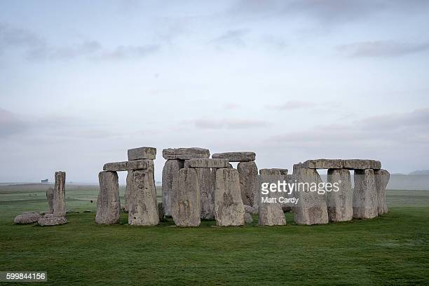 The ancient neolithic monument of Stonehenge near Amesbury is viewed from a hot air ballon on September 7 2016 in Wiltshire England To mark the 30th...
