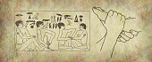 Pair of female feet on right with Egyptian hieroglyphic panel of foot massage scene on stone effect background