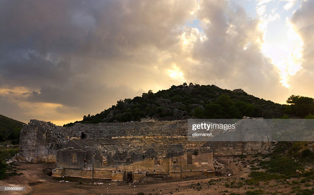 the ancient ruins of an amphitheater in Patara, Lycia : Stock Photo