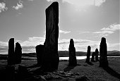 An unusually atmospheric black & white image of the prehistoric standing stones at Callanish on Eilean Siar (Harris & Lewis) in the Western Isles (Outer Hebrides), NW Scotland.