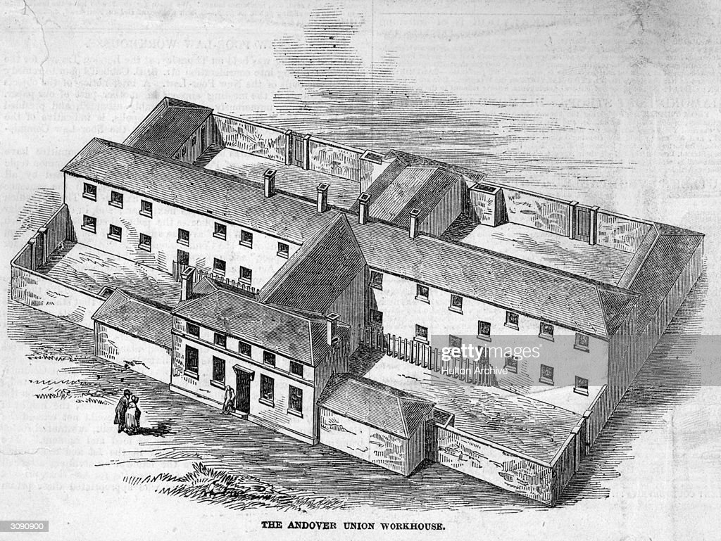 The Andover Union workhouse, the centre of a scandal in 1845-6 when McDougal, the master of the workhouse was accused of excess cruelty toward the paupers. Original Publication: Illustrated London News - pub. 1846