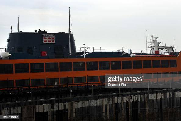 The Andrew J Barbieri Ferry sits in the port following a crash of the Staten Island Ferry into a dock in the city's borough of Staten Island on May 8...