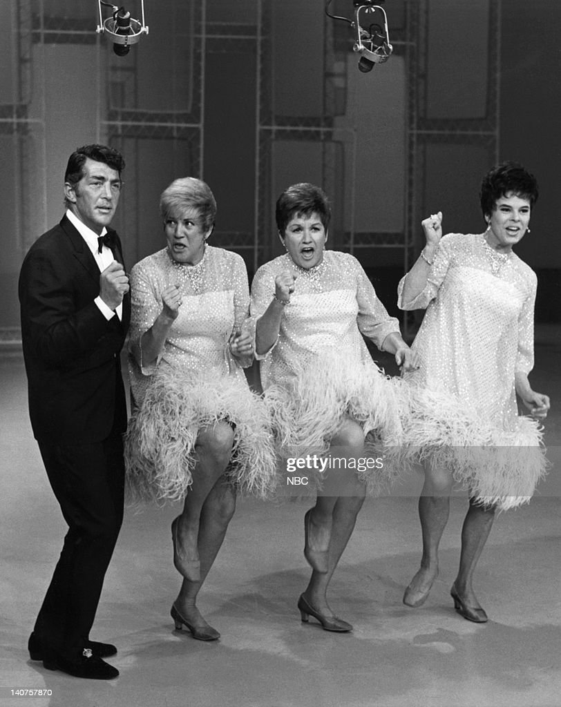 SHOW -- 'The <a gi-track='captionPersonalityLinkClicked' href=/galleries/search?phrase=Andrews+Sisters&family=editorial&specificpeople=93076 ng-click='$event.stopPropagation()'>Andrews Sisters</a>' Pictured: (l-r) Host Dean Martin, The <a gi-track='captionPersonalityLinkClicked' href=/galleries/search?phrase=Andrews+Sisters&family=editorial&specificpeople=93076 ng-click='$event.stopPropagation()'>Andrews Sisters</a>: <a gi-track='captionPersonalityLinkClicked' href=/galleries/search?phrase=Patty+Andrews&family=editorial&specificpeople=93920 ng-click='$event.stopPropagation()'>Patty Andrews</a>, <a gi-track='captionPersonalityLinkClicked' href=/galleries/search?phrase=Maxene+Andrews&family=editorial&specificpeople=93752 ng-click='$event.stopPropagation()'>Maxene Andrews</a>, Joyce DeYoung -- Photo by: Paul W. Bailey/NBC/NBCU Photo Bank