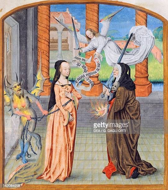 The angel greeting Mary Magdalene and chasing a demon miniature by Jean d'Ecckoute The Netherlands 15th Century