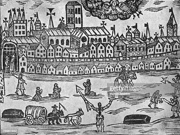 The angel of death presides over London during the Great Plague of 16641666 holding an hourglass in one hand and a spear in the other Published in...