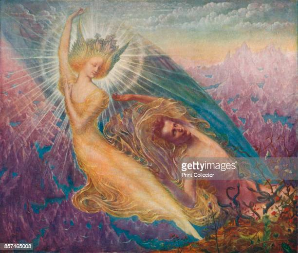 The Angel of Splendours' circa 1894 Painting held at the Royal Museums of Fine Arts of Belgium Brussels From Bibby's Annual 1911 [J Bibby Sons...