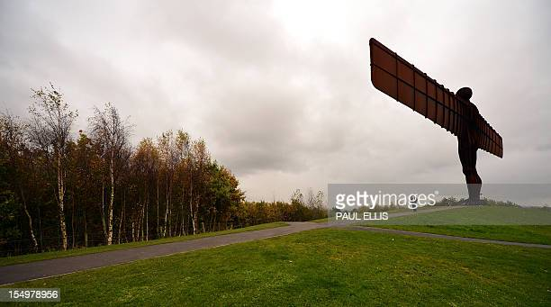 The Angel of The North sculpture stands near autumn coloured trees near Gateshead northeast England on October 29 2012 British sculptor Antony...