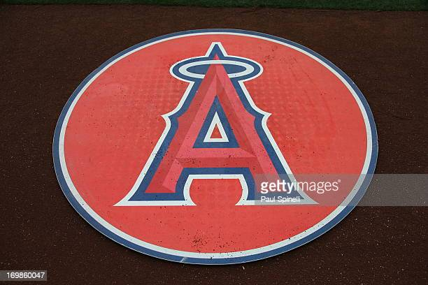 The Angels logo is shown on the on deck circle at Angel Stadium of Anaheim before the Los Angeles Angels of Anaheim game against the Houston Astros...