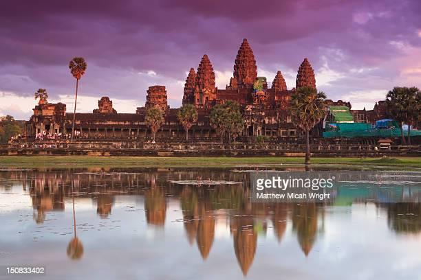 The Angkor Wat temple at sunset.