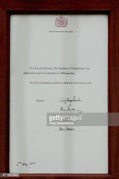 The announcement of the birth of Prince William Duke of Cambridge and the Duchess of Cambridge's second child outside Buckingham Palace on May 2 2015...