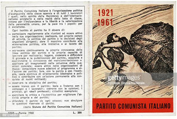 The annual card of the Italian Communist Party for 1961 A worker breaks the chains that harness the globe on the fortieth anniversary of the party...