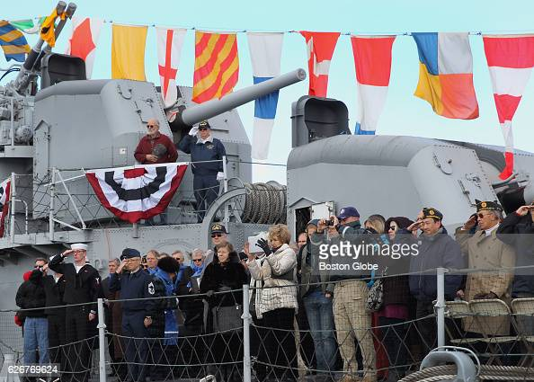The annual Pearl Harbor Survivors Association and Friends Memorial Service on the deck of the USS Cassin Young DD79 at the Charlestown Navy Yard in...