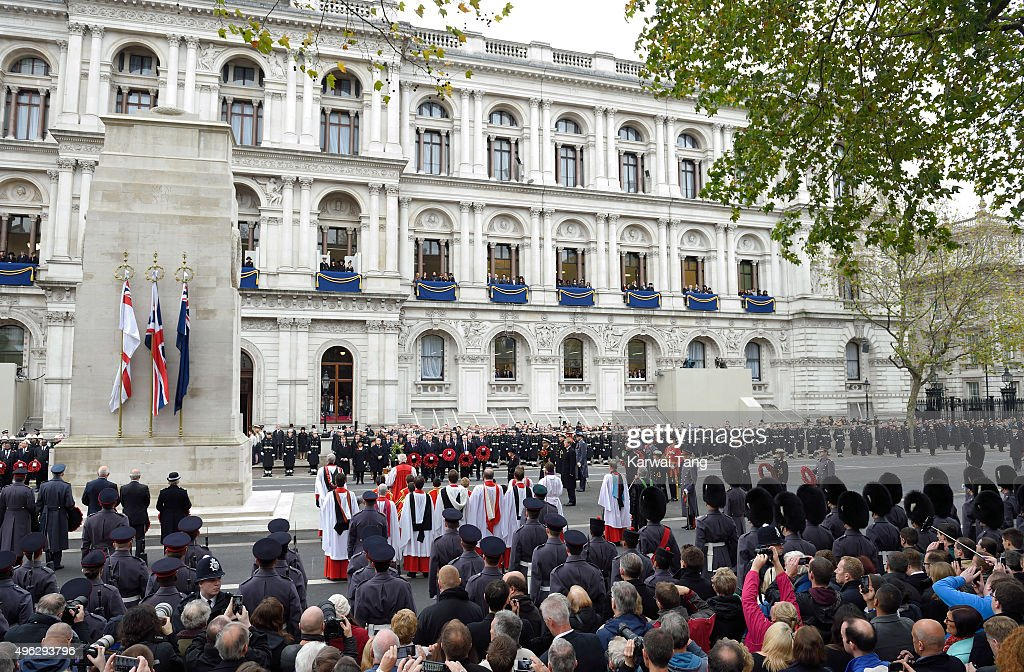 The annual Remembrance Sunday Service at the Cenotaph, Whitehall on November 8, 2015 in London, England.