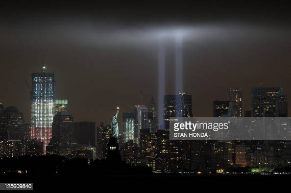 "The annual ""Tribute in Light"" memorial echoing the twin towers of the World Trade Center illuminates the night sky during the 10th Anniversary of the..."