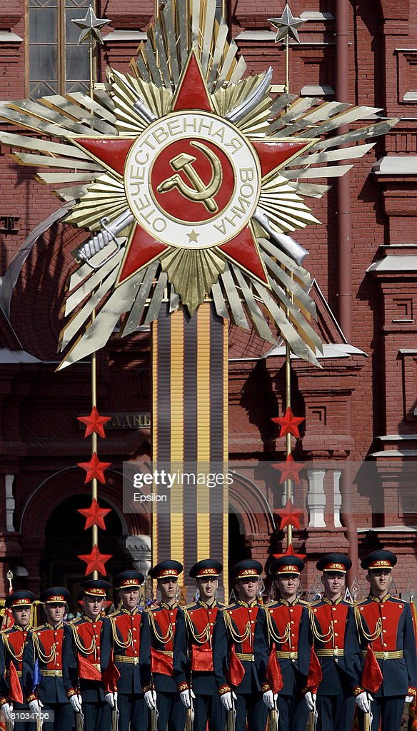 The annual Victory Day military parade takes place at Red Square on May 09 2008 in Moscow Russia Over 26 million Soviet soldiers killed during World...