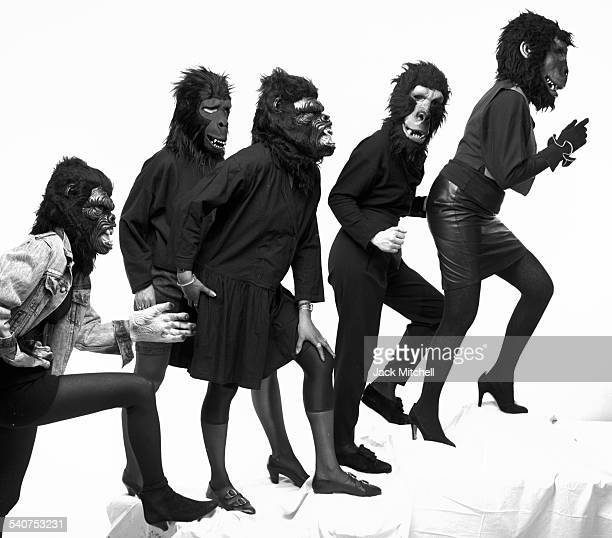 The anonymous Guerrilla Girls artists and activists photographed March 29 1990