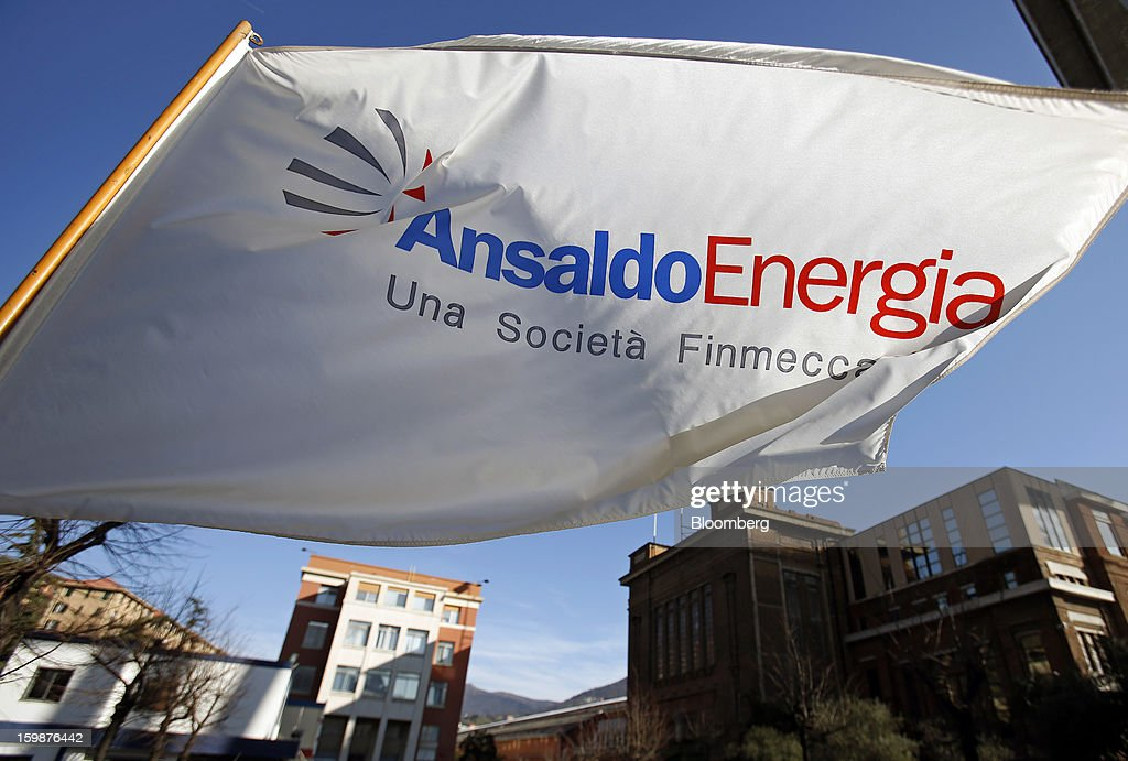The Ansaldo Energia SpA logo sits on a flag at the company's power-plant production facility in Genoa, Italy, on Friday, Jan. 18, 2013. Finmeccanica SpA is seeking binding bids for assets, including a majority stake in Ansaldo Energia, by Jan. 23, while a final decision will be made at a later board meeting, Ansa reported Jan. 16. Photographer: Alessia Pierdomenico/Bloomber-