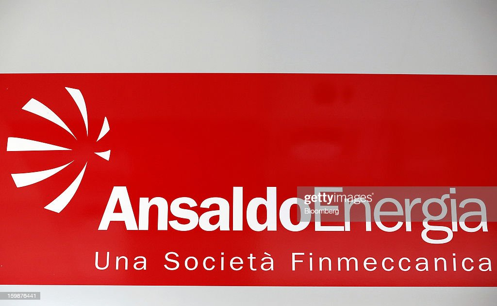 The Ansaldo Energia SpA logo sits on display inside the company's power-plant production facility in Genoa, Italy, on Friday, Jan. 18, 2013. Finmeccanica SpA is seeking binding bids for assets, including a majority stake in Ansaldo Energia, by Jan. 23, while a final decision will be made at a later board meeting, Ansa reported Jan. 16. Photographer: Alessia Pierdomenico/Bloomberg via Getty Images