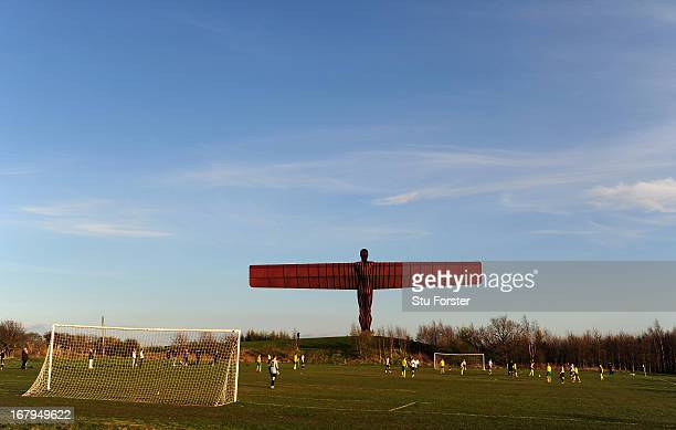 The Anthony Gormley 'Angel of the North' sculpture overlooks the match between Gateshead and Esh Winning on May 2 2013 in Gateshead England