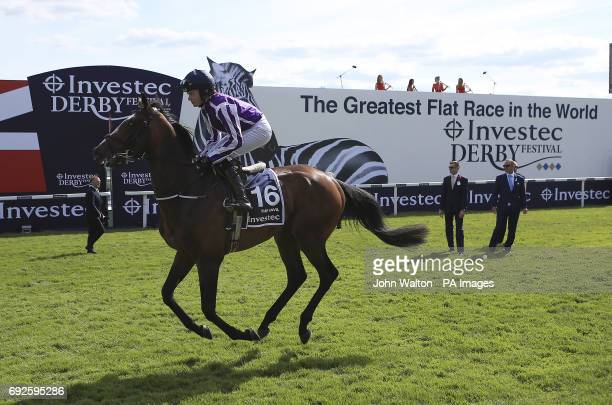 The Anvil ridden by Jockey Anastasia O'Brien prior to the Investec Derby