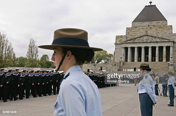 The ANZAC Day parade marches from Flinders Street Station along St Kilda Road to the Shrine of Remembrance April 25 2005 in Melbourne Australia...