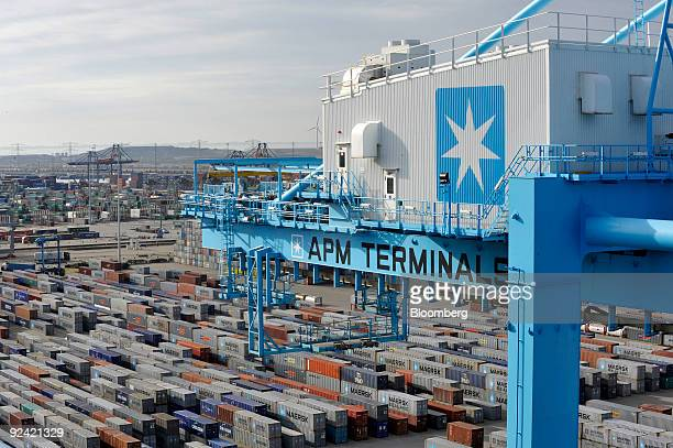 The AP MoellerMaersk A/S logo is displayed on a crane used to lift containers at the APM Terminal at the Port of Rotterdam in The Netherlands on...