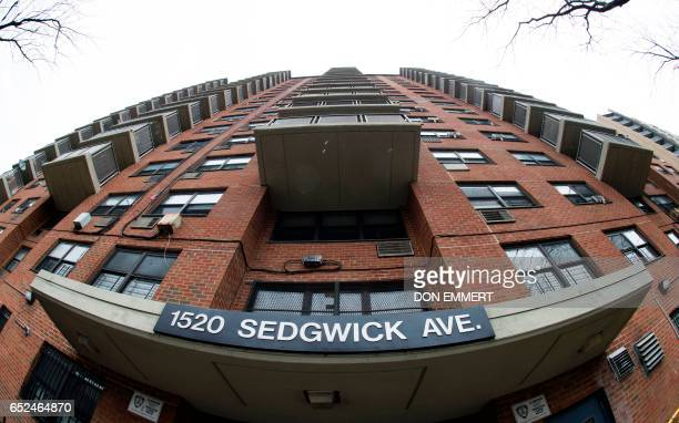 The apartment building at 1520 Sedgwick Ave in the Bronx on March 7 2017 in New York Rappers graffiti artists dancers DJs in the early 1970s created...