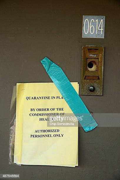 The apartment where Ebola victim Thomas Eric Duncan stayed when he fell ill remains under quarantine 12 days after his death October 20 2014 in...