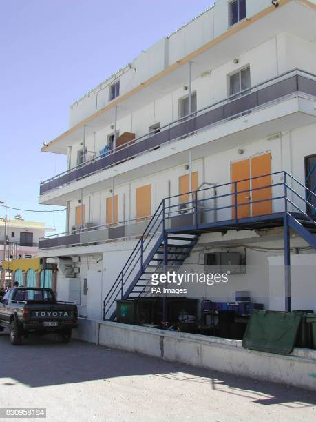 The apartments behind the Q Club in Faliraki Rhodes British holidaymaker Christopher Rochester fell 40ft from the top level of the building and bled...