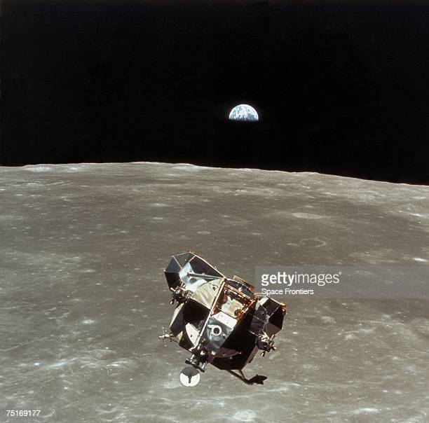 The Apollo 11 Lunar Module 'Eagle' begins its ascent to rendezvous with the Command/Service Module 'Columbia' after its successful lunar landing 21st...