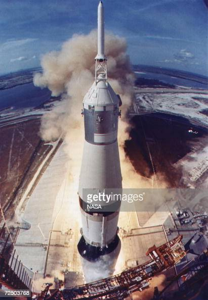 The Apollo 11 Saturn V space vehicle lifts off July 16 1969 from Kennedy Space Center's Launch Complex in Florida The space craft was injected into...