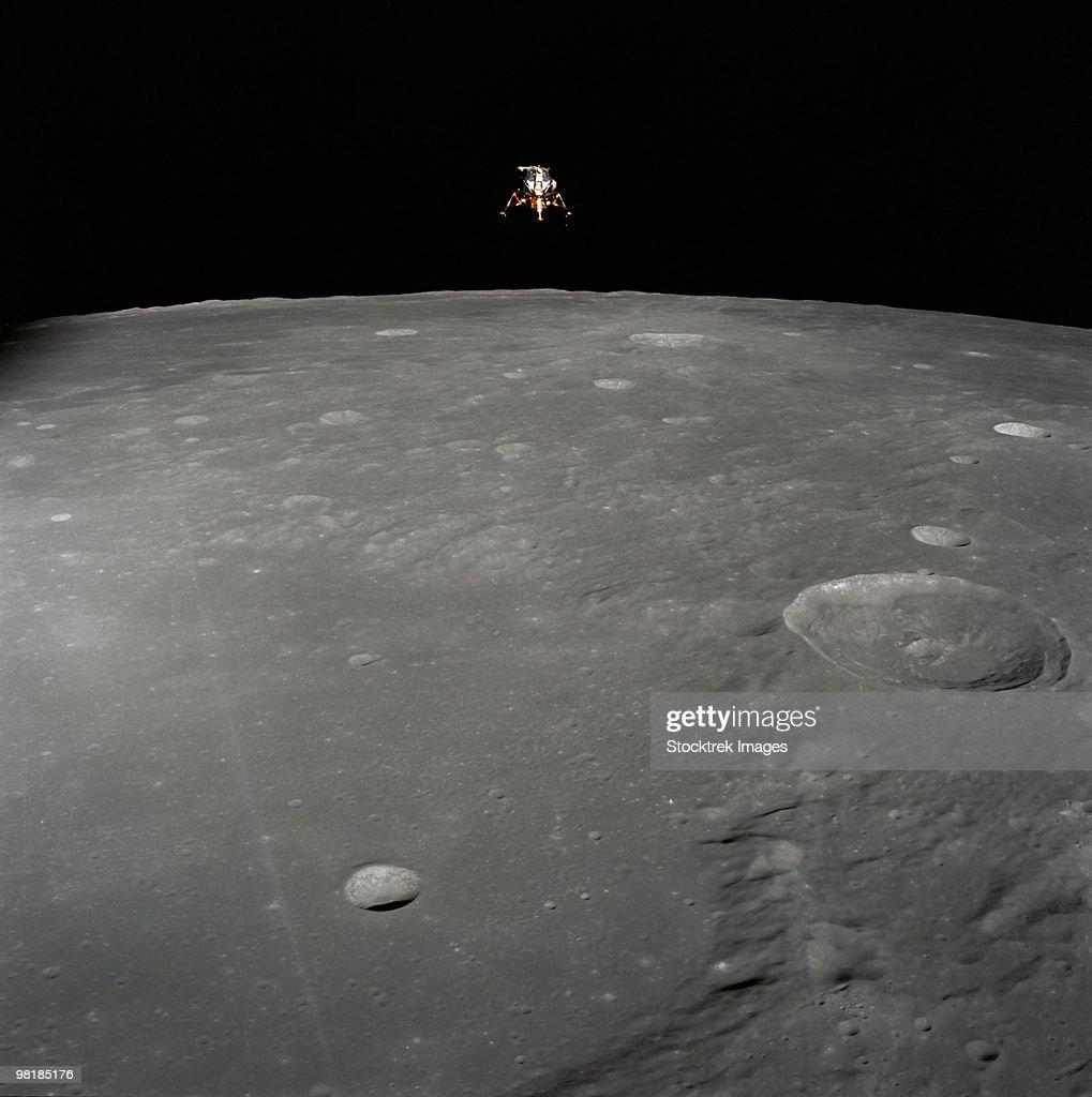 The Apollo 12 lunar module Intrepid is set in a lunar landing configuration.