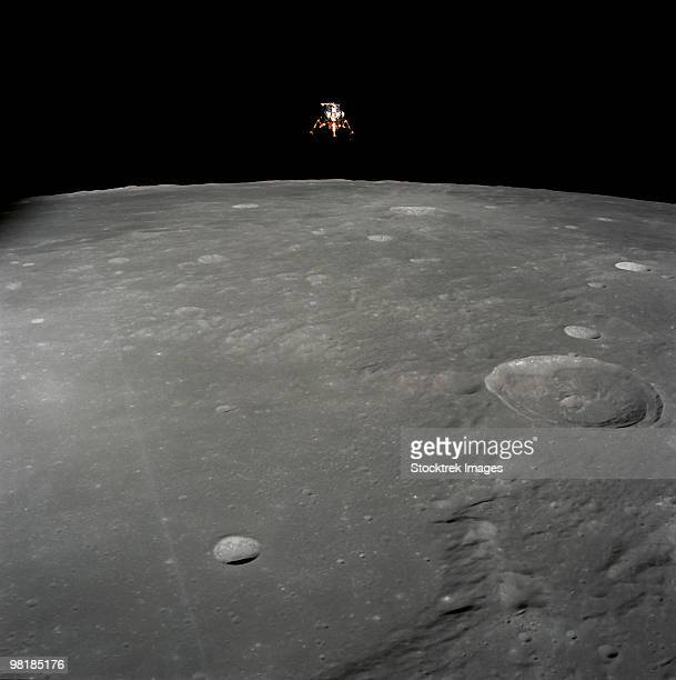 The Apollo 12 lunar module Intrepid is set in a lunar landing configuration.