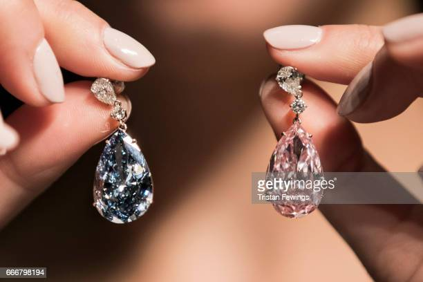 The Apollo and Artemis Diamonds the most valuable earrings ever to appear at auction unveiled today at Sotheby's on April 10 2017 in London England...