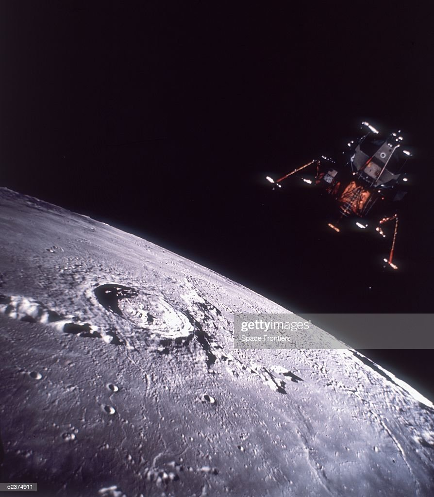 The Apollo Lunar Module known as the Eagle descends onto the surface of the moon during the Apollo 11 mission 20th July 1969 This is a composite...