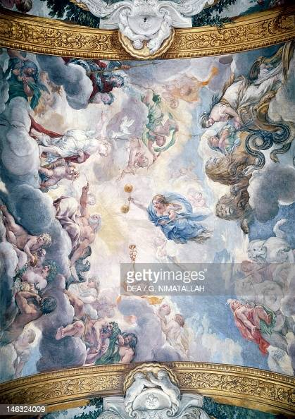 The apotheosis of Aeneas detail from the Stories of Aeneas by Pietro da Cortona fresco 332x72 m Palazzo Pamphili Gallery Rome