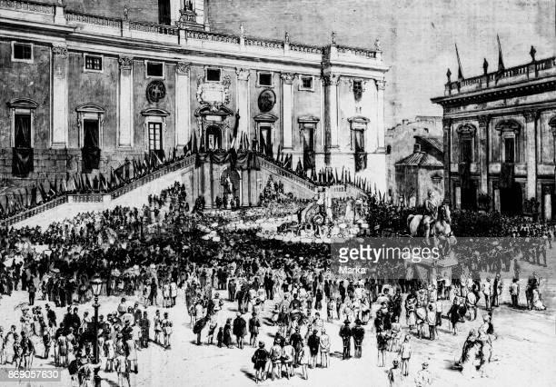 The Apotheosis of Garibaldi In Rome Parade In Piazza Del Campidoglio June 11 1882