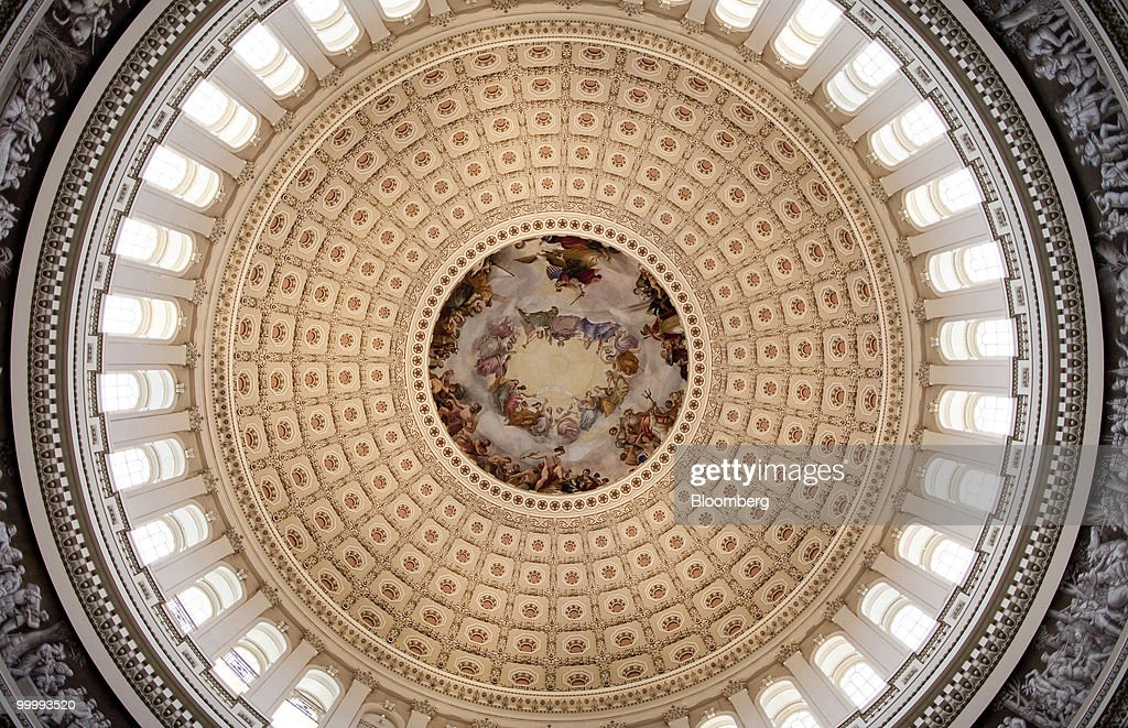The Apotheosis of Washington fresco is seen in the Capitol building rotunda in Washington, D.C., U.S., on Monday, May 17, 2010. The Capitol is the meeting place for the Senate and House of Representatives. Photographer: Andrew Harrer/Bloomberg via Getty Images