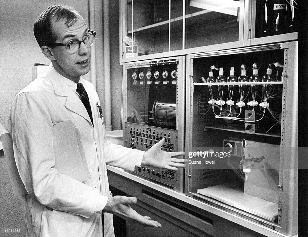INVENTION The apparatus he designed automatically synthesizes peptide chains This is the third such machine he created