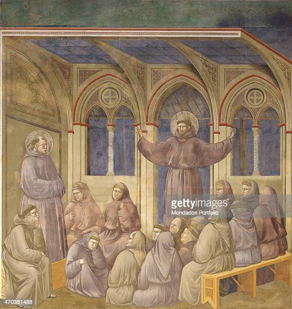 'The Apparition of St Francis in the Chapter of Arles by Giotto 12971300 13th14th century fresco Italy Umbria Assisi Upper Basilica of San Francesco...