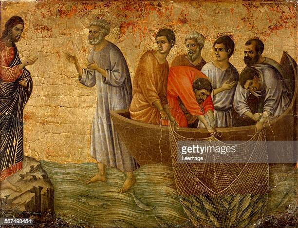 The Apparition on the Lake of Tiberiade from the story of Christ after the Resurrection the verso of the Maesta altarpiece by Duccio di Buoninsegna...