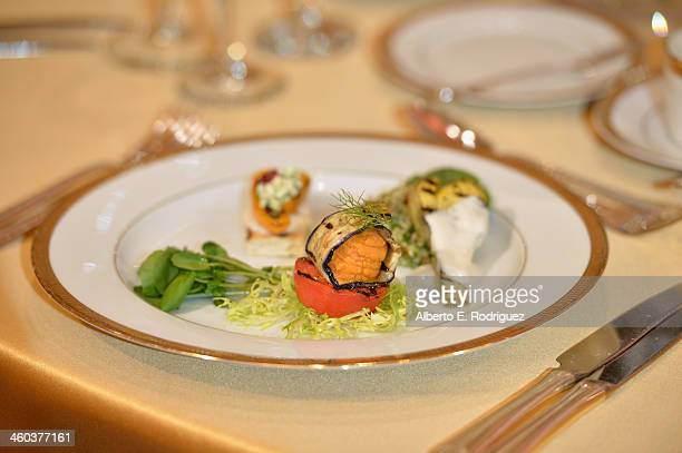The appetizer course at the 71st Golden Globe Awards Show Menu Unveiling at The Beverly Hilton Hotel on January 3 2014 in Beverly Hills California