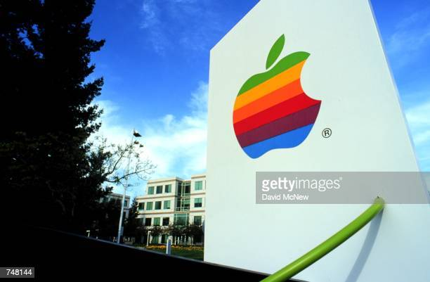 The Apple icon stands at the entrance to the Silicon Valley location of Apple Computer Inc in Cupertino California April 21 2000