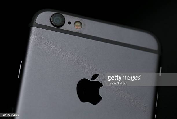 The Apple logo is displayed on an iPhone 6 on July 21 2015 in San Francisco California Apple reported a 38 percent surge in third quarter earnings...