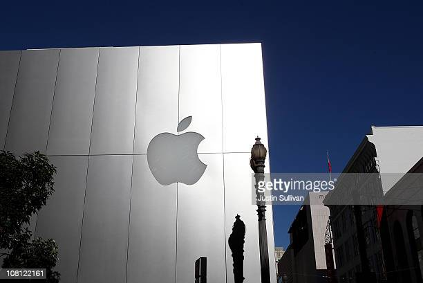 The Apple logo is displayed on the exterior of an Apple retail store on January 18 2011 in San Francisco California Apple will release first quarter...