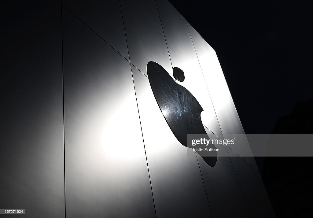 The Apple logo is displayed on the exterior of an Apple Store on April 23, 2013 in San Francisco, California. Analysts believe that Apple Inc. will report their first quarterly loss in nearly a decade as the company prepares to report first quarter earnings today after the closing bell.