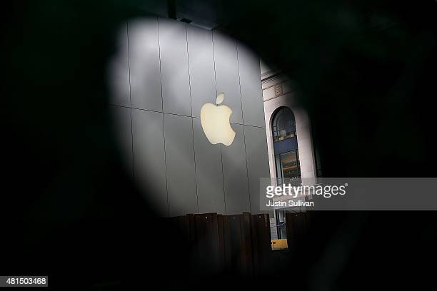 The Apple logo is displayed on the exterior of an Apple Store on July 21 2015 in San Francisco California Apple reported a 38 percent surge in third...
