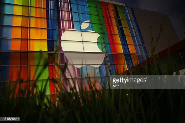 The Apple logo is seen September 11 2012 at the Yerba Buena Center for Arts in San Francisco the night before Apple's special media event to...