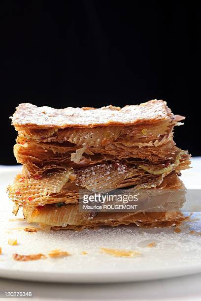 The apple millefeuille in the Restaurant 'l'Arpege' on January 10 2011 in Paris France